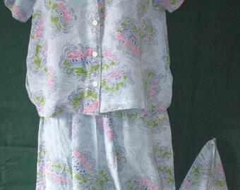 RARe Vintage Late 1930's  PJ's RAYoN PAJAMA SET Nightgown Nightie~Two-Piece Set
