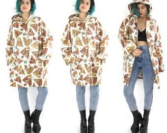 50% OFF SALE Pizza Print Rain Jacket Novelty Print Rain Coats Hooded Waterproof Jacket Unisex Long Sleeves Handmade Pizza Slickers  (M/L/Xl)