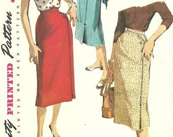 Vintage 50s Sewing Pattern / Simplicity 4769 / Slim Skirt / Waist 26
