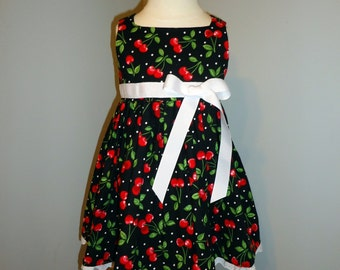 Cherry Polka Dot Rockabilly Dress - Size 1