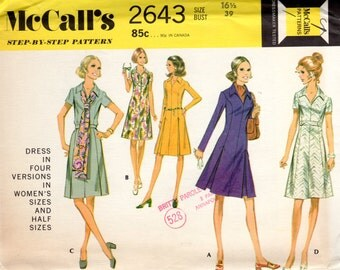 70s Vintage Pattern Princess Seamed Dress - McCall's 2643 - Bust 39 FF