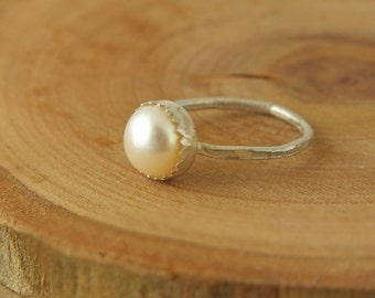 Freshwater Pearl Stacking Ring, Pearl Stacking Ring, Freshwater Pearl Sterling Silver Ring