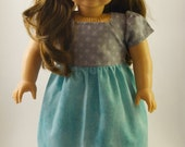 Gray And Blue Party Dress For 18 inch  American Dolls