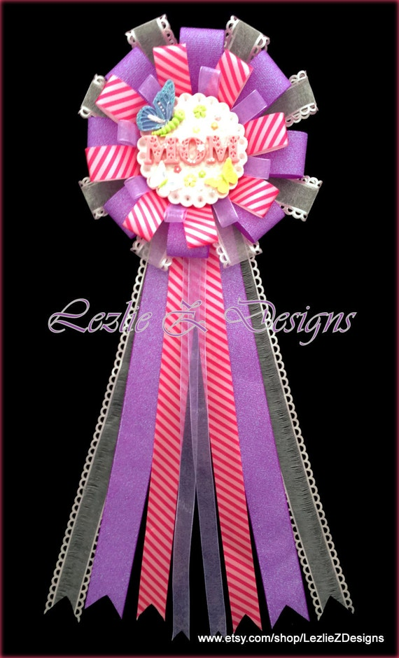 butterfly mom to be baby shower corsage pin purple hot pink mommy to