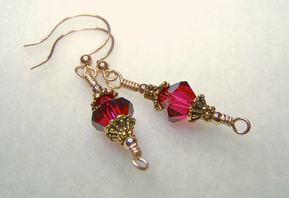 Red Earrings for Women Ruby Crystal July Birthstone Ladies Jewelry Wire Wrapped Gold Dangle for Pierced Ear Gift Idea for Her Made in Canada