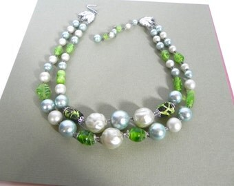 Vintage 1950s Baroque Pearl and Grean Bead Necklace - 50s Green Glass Bead Blue Pearl double strand Necklace - on sale