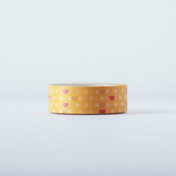 Tangerine Valentine Washi Tape-  Single Roll 15 mm x 10 m  |  Wedding Decor, Baby Shower, Planner Stickers, Holiday Wrap, Birthday Favors