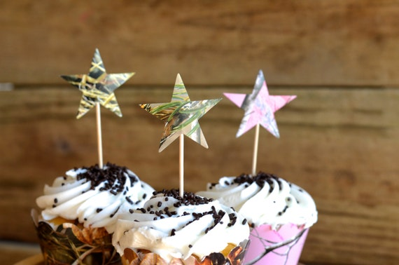 Camo Star Cupcake Picks, Realtree, Realtree Pink and Max 4 camouflage dessert toppers