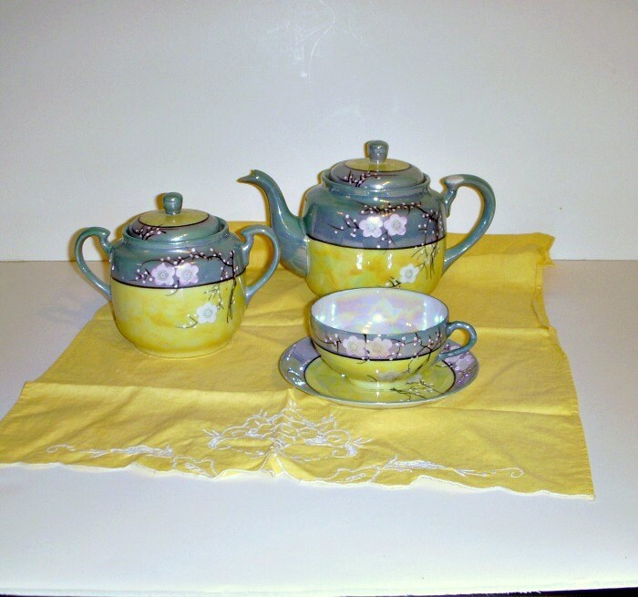 Vintage Lusterware Tea Set Blue Yellow Tea Set Japanese