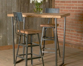 "Reclaimed Stool with steel back (1) 25"" counter height stool with back.  Your choice of wood finish and stool height."