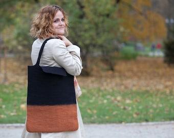 Felt handbag Black Brown color merino wool Handbag Original woman bag Great Christmas gift