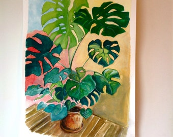 Original Gouache Painting Of Monstera House Plant 15 x 20 inches - Philodendron - Retro House Plant