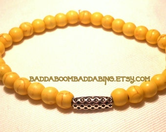 SALE Yellow Stretch Bracelet Weave Bead Collection - Magnesite Howlite Yellow Beads