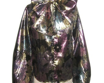 POYZA Multicolor Floral Print Metallic Lame Ascot Tie Neck Long Poet Sleeve Side Slit Tunic Blouse Small Solid Colors Custom Order Available