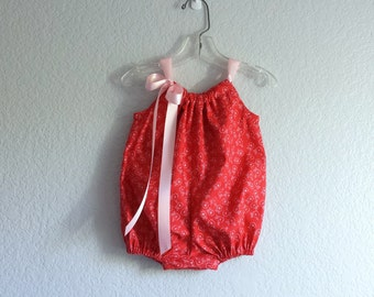 Baby Girl Bubble Romper - Red and Pink Infant Sun Suit - Retro Baby Romper -  Baby Girl Clothes - Size Newborn, 3m, 6m, 9m, 12m or 18m