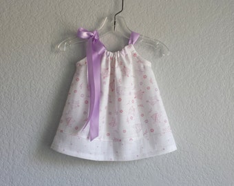 Baby Girls Owl Dress - White Dress and Bloomers -  Lavender and Pink Owls on White - Infant Sun Dress with Owls & Dots - Sizes Nb, 3m or 6m