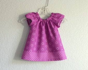 Baby Girls Purple Dress and Bloomers - Magenta Flutter Sleeve Dress - Baby Girls Purple and White Dress - Size Nb, 3m, 6m, 9m, 12m or 18m