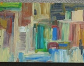 Abstract Oil Painting: hollow in the mountains with waterfalls