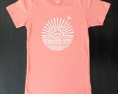 Deer in the Sun Women's T-Shirt on Peachy Pink - Small