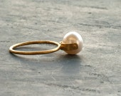 Solid Gold Pearl Ring, Engagement/Wedding Ring, 18 Karat Gold Natural Cultured White Pearl Solitaire Ring Pearl Wedding Anniversary Size 7.5