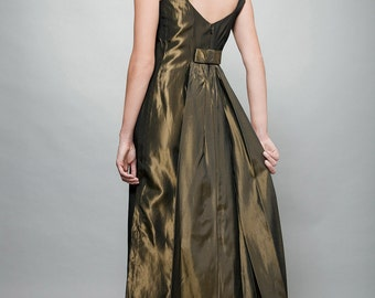 """vintage 70s evening gown maxi dress green taffeta pinstripes bow back S (34"""" bust) - Small"""