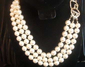 Kenneth Jay Lane Signed Triple Strand Glass Pearl Necklace