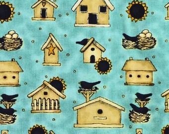 Robins Egg Blue Folk Print, Quilting Cotton Fabric, Debbie Mumm, SSI, Birdhouses, Nests, half yard, B6