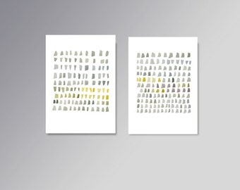 watercolor painting print  Set of two giclee prints Grey yellow dots  minimal painting abstract art