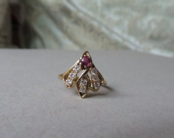 Custom 50's Mid Century Diamond & Ruby Fan Shape 14K Gold Ring