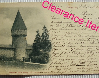 French Antique Postcard - Fabri Tower, Cluny Abbey, France (Clearance Item)