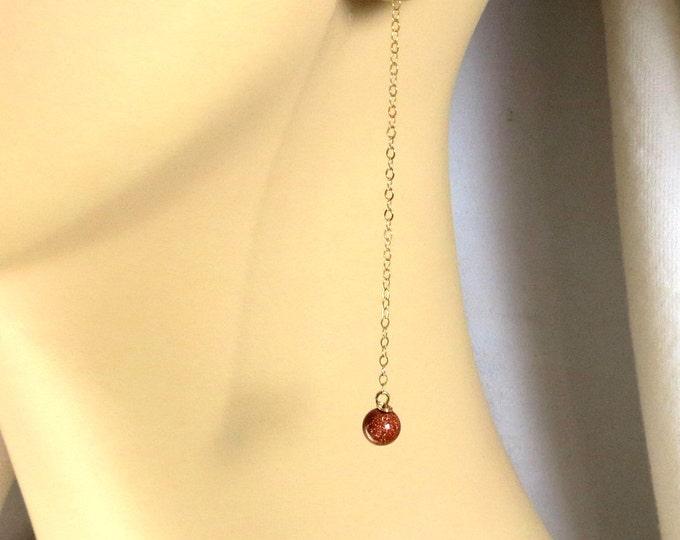 Long Gold Earrings, Post Earrings, Studs, Gold stone Beads, Dangle Earrings, Minimalist Earrings,Gold Filled