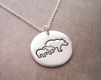 Mother and Twin Bear Cub Necklace, Mom and Two Kids, New Mom Jewelry, Twin Jewelry, Fine Silver, Sterling Silver Chain, Made To Order