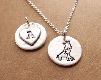 Personalized Small Mother and Baby Giraffe Necklace, New Mom Necklace, Heart Monogram, Fine Silver, Sterling Silver Chain, Made To Order