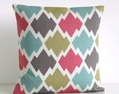 Ikat Cushion Cover, 16x16 Ikat Pillow Cover, 16 Inch Pillow Sham - Ikat Trellis Zest