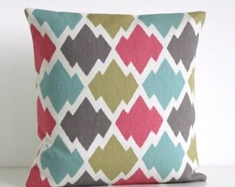 Ikat Cushion Cover, 16x16 Ikat Pillow Cover, 16 Inch Pillow Sham - Ikat Trellis Zest