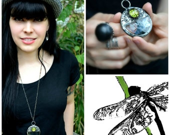 Loupe Necklace, Magnifying Glass Necklace, Magnifier, Monocle, Hipster Jewelry, Wearable Loupe, Magnifier Pendant, Long Necklace (2138)