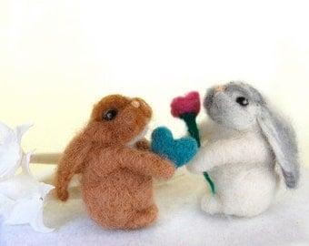Love Bunnies. Miniature Bunnies. Miniature Animals. Needle Felted Rabbits. Felted Toy. Little Toy Rabbits. Wool Felt Bunnies. Baby Bunnies