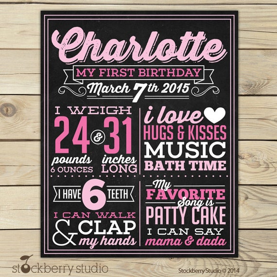 Items similar to girl first birthday chalkboard poster printable 1st birthday chalkboard sign for First birthday chalkboard printable