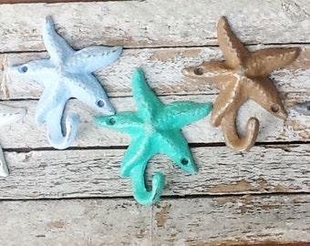 Starfish Cast Iron Metal- PICK YOUR COLOR -Wall Decor-Malibu Beach House-Nautical Wall Hook-Towel Hanger-Lake House -Coastal Living-Winter