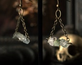 Clearance Item 30% Off Rough Aquamarine Gemstone Earrings 2 inches