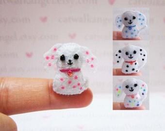 Felt Miniature - Felted Miniature dog - Felted dog - polka dots dog  felted miniature - dog miniature - tiny dog - felted brown dog