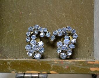 1950s Pale Blue Austrian Rhinestone Clip Earrings