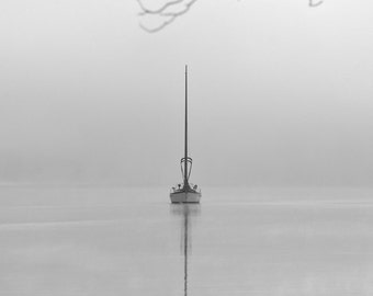 Sailboat photography, nautical photography, sailboats in fog, sailboats, minimalist, minimalism.