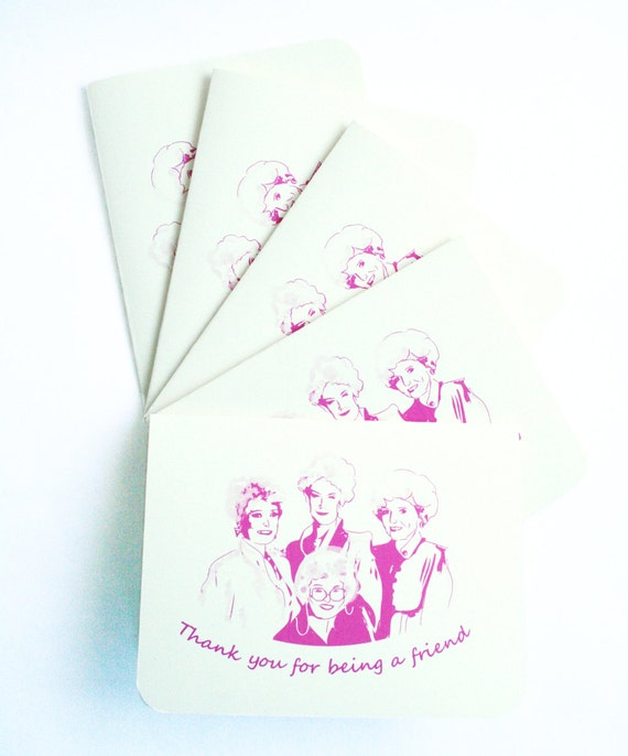 Thank you Cards - Golden Girls Thank You for being a Friend Card,  set of 5 cards and envelopes, vintage, retro, 80's,  bridesmaids cards