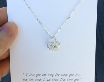 Love Knot Necklace / Love You Necklace / Silver Knot Necklace / Valentine's gift / Romantic Jewelry Gift