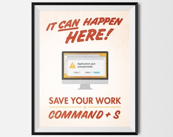 "Save Your Work! Mac Graphic Design Printable Poster Red 8.5""x11"""