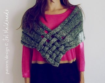 Cowl Scarf Knit Pattern - PDF Weave Capelet Wrap - Instant Download