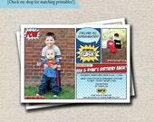 Superhero Invitation | Superhero Invite | Superhero Birthday Party | Super Hero Comic Book Invite | digital printable