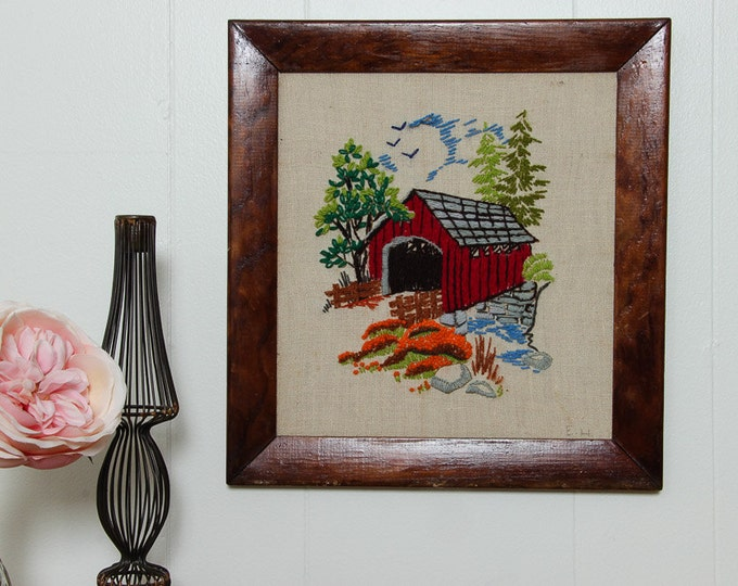 Covered Bridge Framed Needlepoint | Multi Colored Wildflower Bridge Nature 13.5x12.5 | Vintage Kitsch Cross-Stich Embroidery Frame Wall Art
