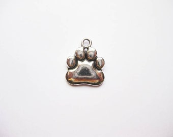 10 Bear Paw Charms in Silver Tone - C2015